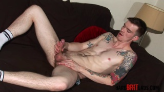 Scottish fittie plays with his foreskin