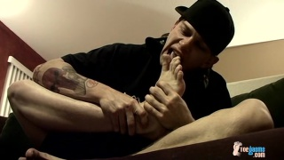 Straight boy Ian licks his feet and jerks off