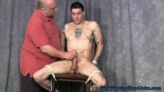 straight guy tied to stool and jerked off