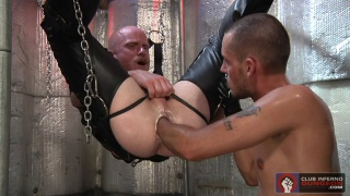 fisting bald daddy's hole in a sling