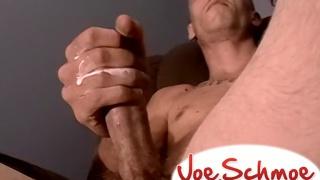 rough-looking skinhead type jacking his bone