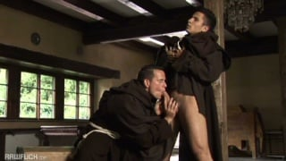 2 horny monks blow each other and fuck