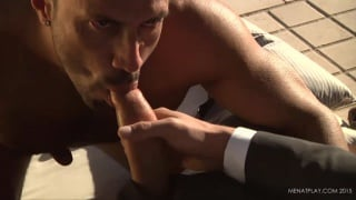 power bottom sits on a 10-inch uncut cock