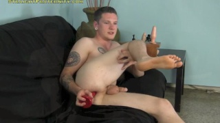 straight guy plays with sex toys