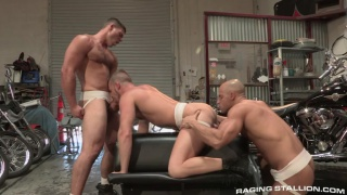 three hunks fucking in hot rod garage