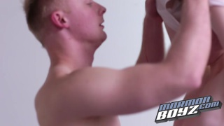 blond mormon gets his first blowjob