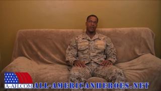 black soldier jerks his big cock