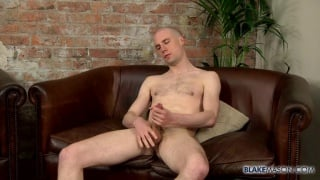 slim bald dude stroking one out