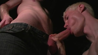 redhead and blond suck dick in the basement