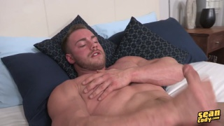blond muscle hunk jerking his big dick