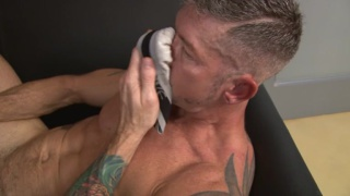 scruffy muscle daddy strokes his hard-on