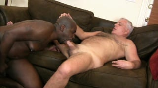 black bear shoves his fat dick in daddy's white ass