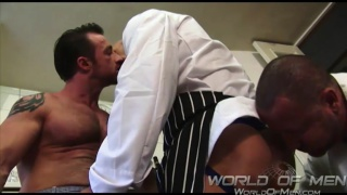 three hung men fucking in kitchen