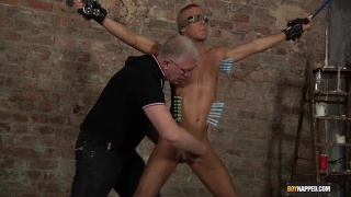 restrained twink serves his older master