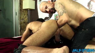 bald daddy buries his arm in sub's ass