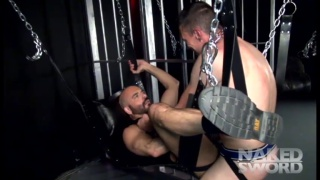 sexy daddy getting bare boned in a sling