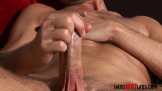jamie slides his foreskin up and down his solid uncut dick
