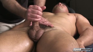 beefy hunk gets massage and handjob