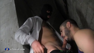 hooded man has full balls that need draining