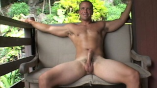 hung muscle stud jacks off outdoors