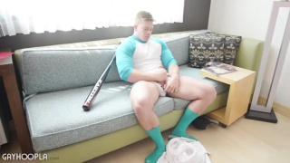 baseball player jacks off in gear