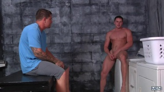 hunk gets caught jacking off in laundry room