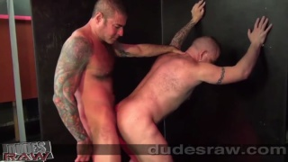 inked studs bare fucking against the wall