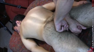 trey's massage ends with a vibrator up his hairy ass
