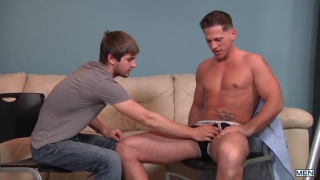 johnny rapid sits on his interviewer's cock