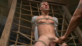 two cute studs bound and cock edged