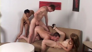jessica invites two guys to come fuck her boyfriend