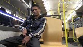 he picks up a Guy on tram to suck his cock