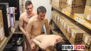 3 lads fucking in warehouse