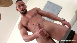 bodybuilder zach strokes his boner