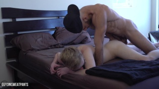 blond guy lets austin wilde play with his fast cock