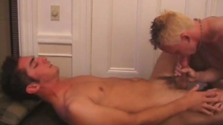 fresh out of the shower, 2 guys fuck