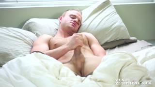 sexy blond guy wakes up hard and horny