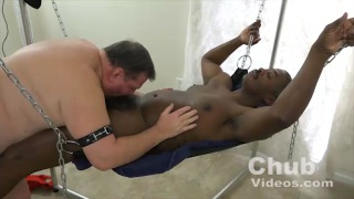 daddy fucks black chub buddy in a sling
