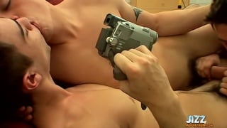 one guy films two buddies sucking and fucking