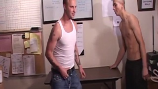 tristan bends buddy corey over a table