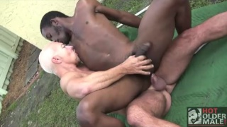 black bottom spreads his muscle ass for a huge dick