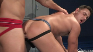 horny studs fucking in their jockstraps in locker room
