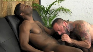 ripped and hung black dude gets head