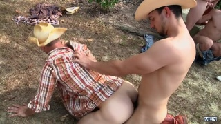 3 cowboy tops fuck 2 bottoms in the dirt