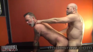 two bearded daddies fucking bare