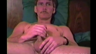 mature street hustle jacks off and cums on his belly