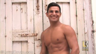 Sicilian jock gets naked outside