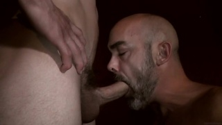 bald daddy sucks a nice cock