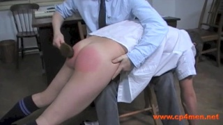 4 naughty lads go over the headmaster's knee