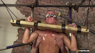 blindfolded Kenzie gets his dick wanked